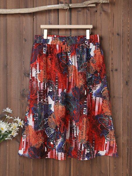 Plus Paisley Print Midi Skirt