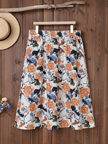 Plus Allover Floral Print Skirt
