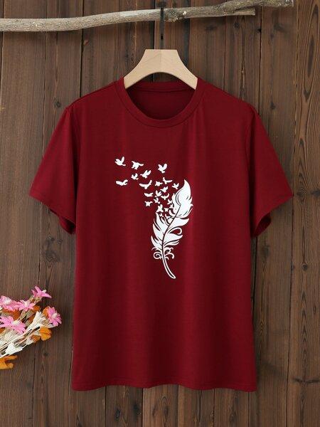 Plus Feather & Bird Print Tee