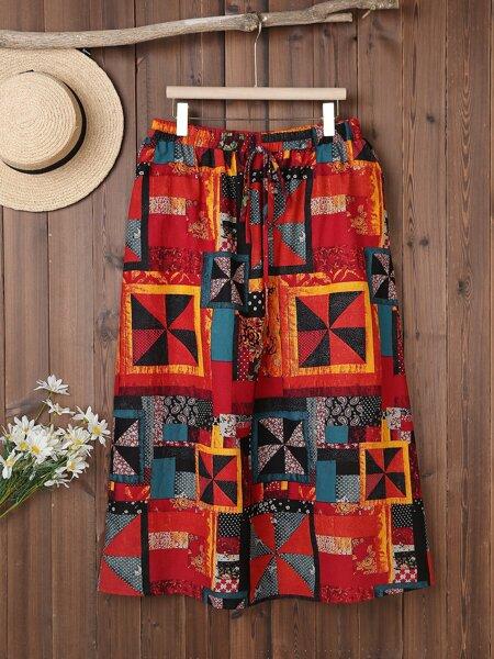 Plus Geo Print Knot Front Skirt