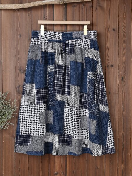 Plus Patchwork And Houndstooth Print Skirt