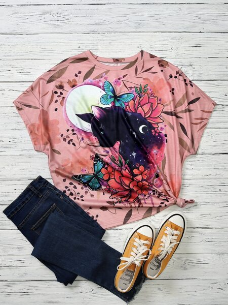 Plus Cat And Butterfly Print Tee