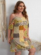 Plus Paisley Print Cold Shoulder Dress