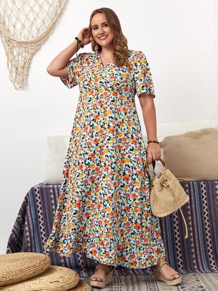 Plus Allover Floral Surplice Front Dress
