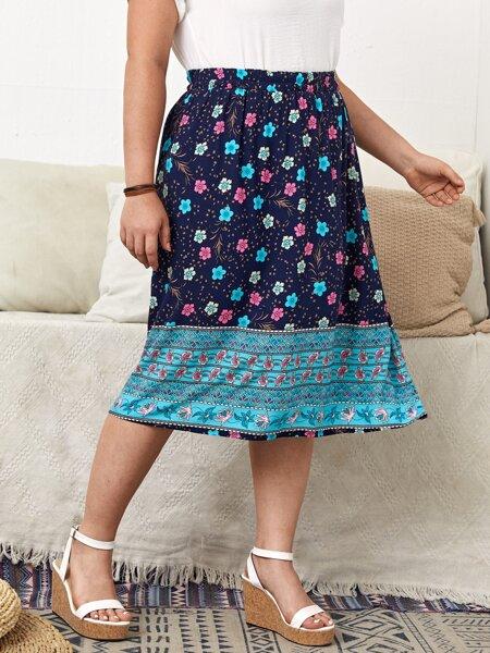 Plus Floral Print Midi A-line Skirt