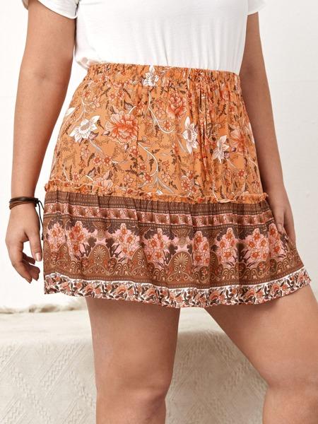 Plus Floral Knot Front Ruffle Hem Skirt