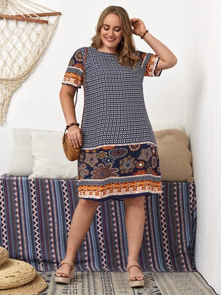 Plus Graphic Print Tunic Dress