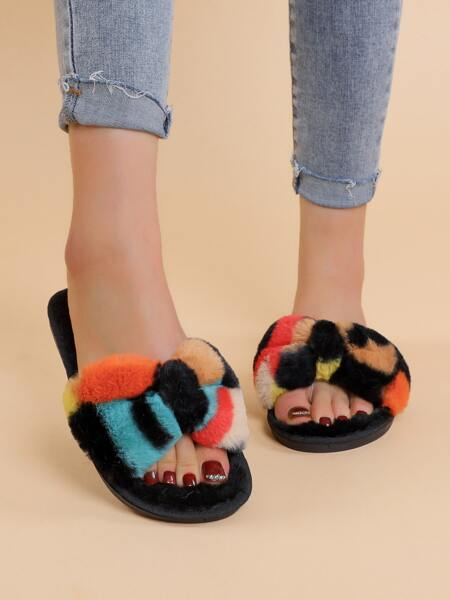 Bow Decor Colorblock Fluffy Slippers
