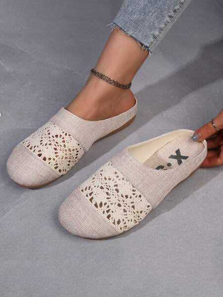Hollow Out Lace Flat Mules