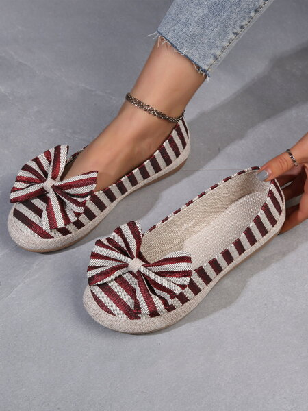 Bow Decor Striped Flats
