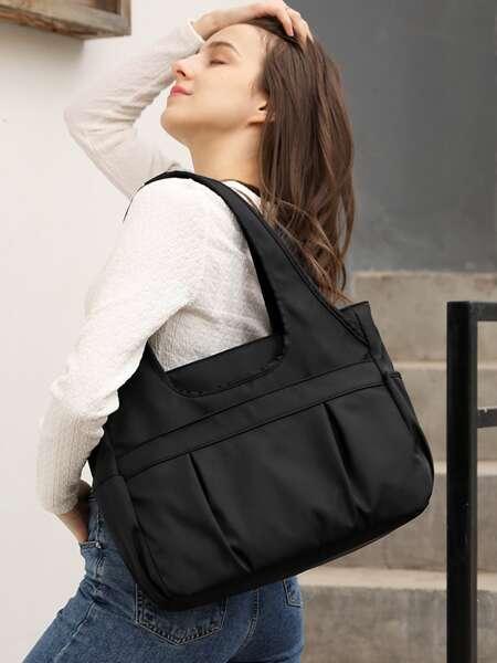Ruched Large Capacity Tote Bag