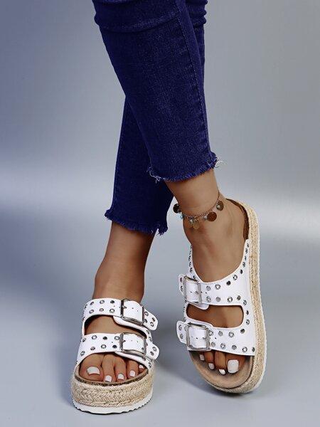Studded Decor Espadrille Footbed Sandals