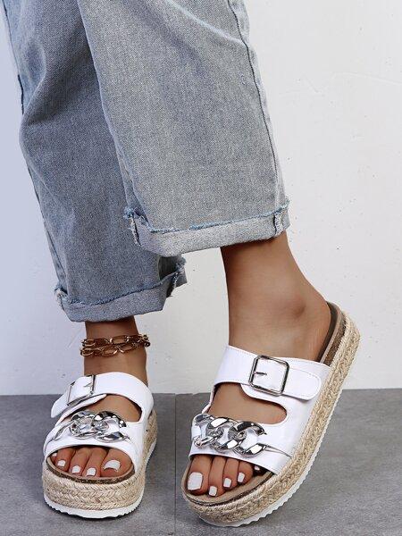 Chain Decor Espadrille Footbed Sandals
