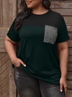 Plus Spliced Glitter Pocket Patched Colorblock Tee