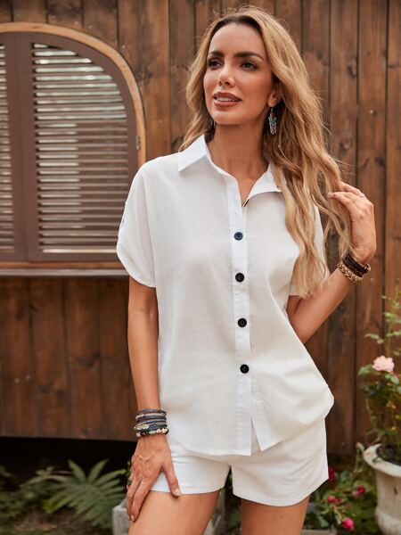 Solid Button Up Top & Shorts Set