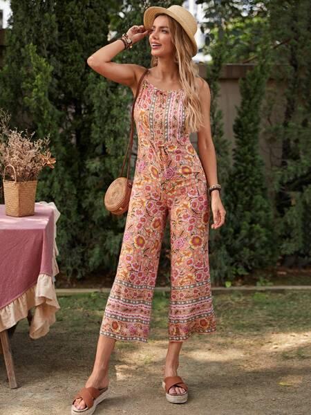 Floral Tie Front Cami Jumpsuit