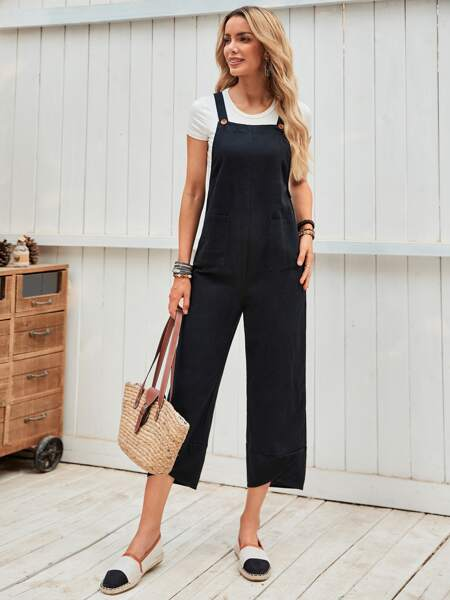 Patch Pocket Solid Overall Jumpsuit
