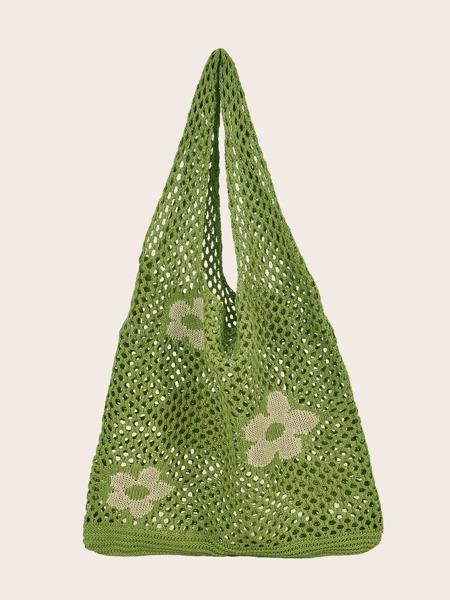 Floral Pattern Crochet Tote Bag