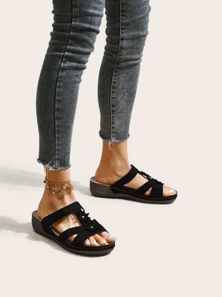 Flower Decor Slide Sandals