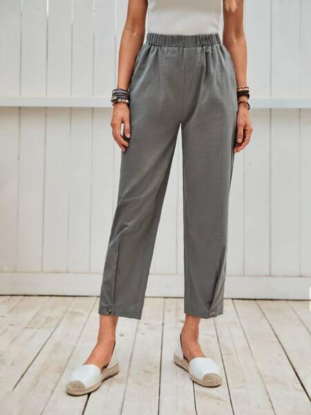 Buttoned Hem Straight Leg Pants