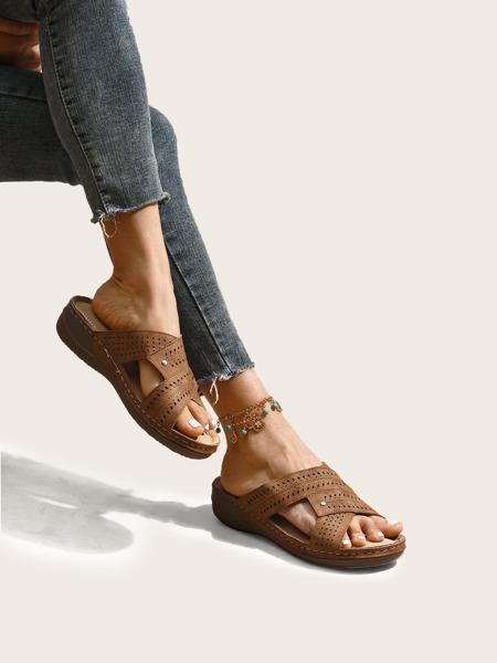 Laser Cut-out Slide Sandals