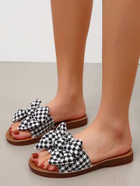 Bow Decor Slide Sandals