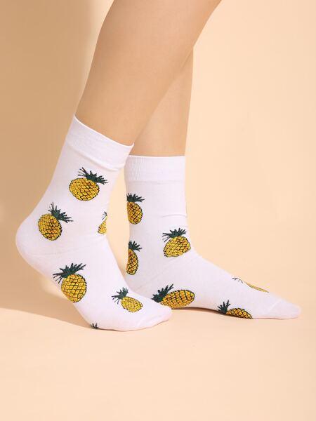 Pineapple Print Crew Socks