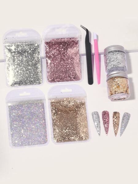 8pcs Foil Confetti Nail Art Decoration Set