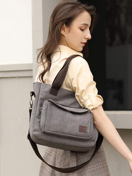 Pocket Front Large Capacity Tote Bag