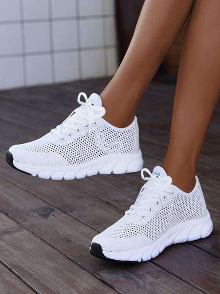Hollow Out Lace-up Front Running Shoes