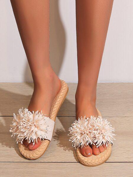 Applique Braided Design Slippers