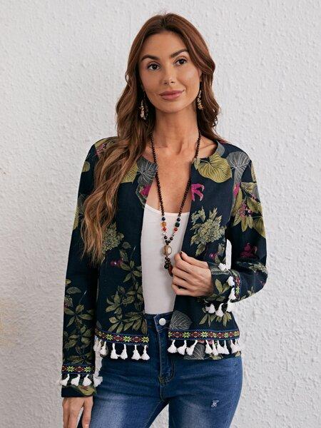 Floral Print Fringe Hem Jacket