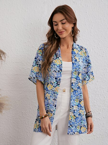 Allover Floral Print Belted Kimono