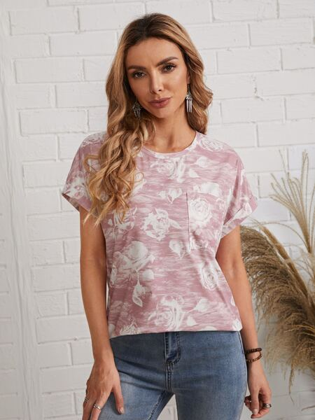 Floral Print Cuffed Sleeve Patch Pocket Tee