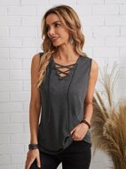 Lace Up Front Solid Tank Top