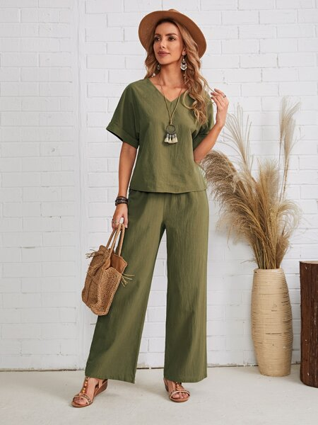 V-neck Cuffed Sleeve Solid Top & Palazzo Pants Set