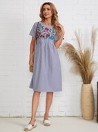 Floral Embroidery Striped Print Dress