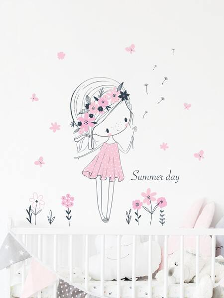 Cartoon Girl Print Kids Wall Sticker