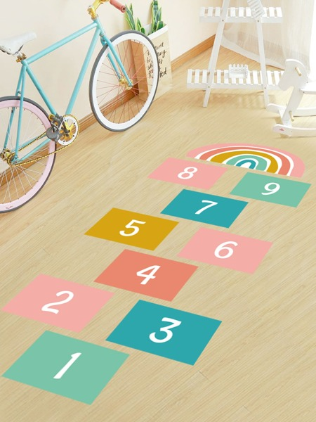 Kids Number & Rainbow Print Floor Sticker