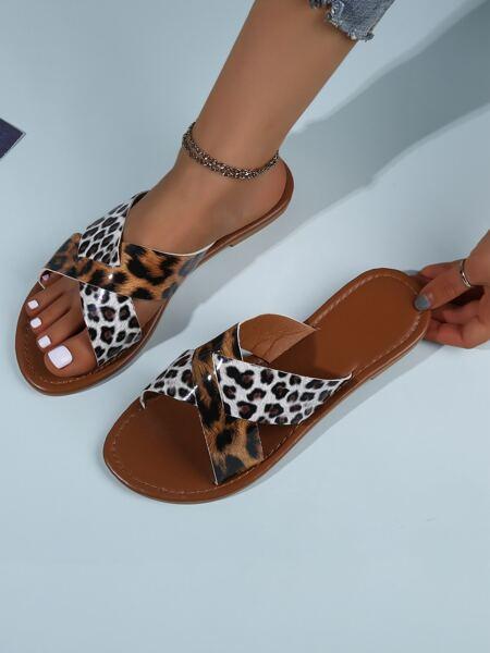 Leopard Criss Cross Slide Sandals
