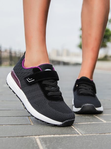 Velcro Strap Knit Running Shoes