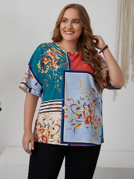 Plus Colorblock Floral Print Blouse