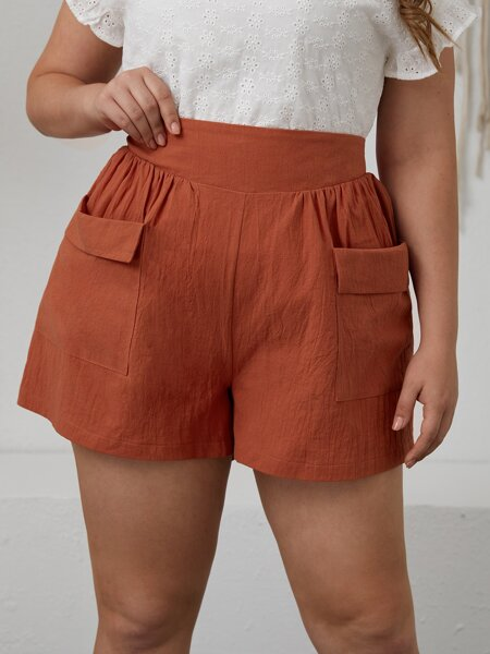 Plus Solid Dual Pocket Shorts