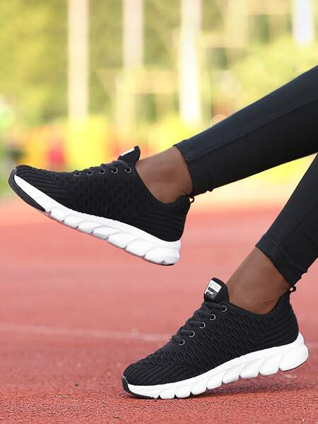 Lace Up Front Knit Running Shoes