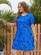 Plus Floral Print Smock Dress