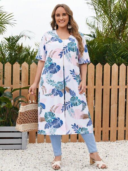 Plus Tropical Print Kimono