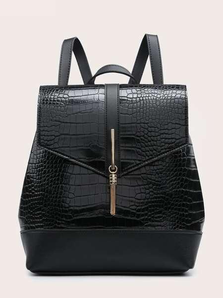 Metal Tassel Charm Croc Embossed Flap Backpack