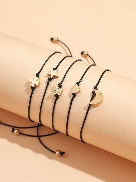 5pcs Star Decor String Bracelet