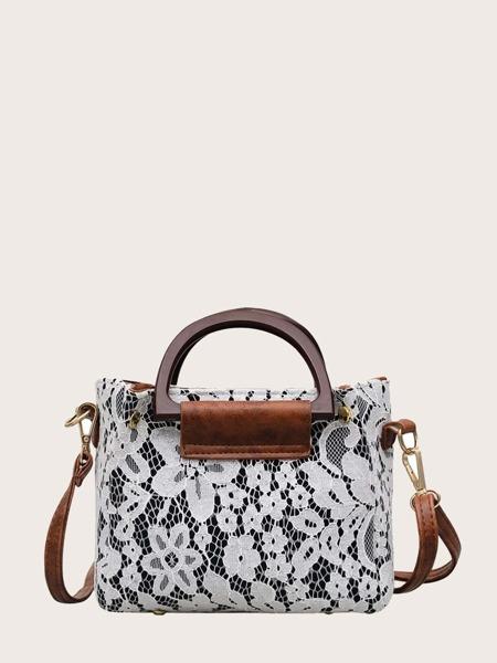Floral Lace Satchel Bag