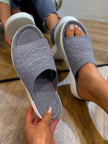 Textured Open Toe Sliders